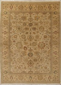 All-Over Pale Gray Floral Agra Oriental Hand-Knotted 10x14 Wool Area Rug