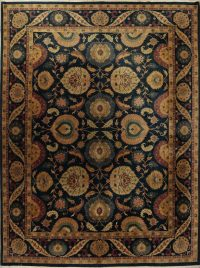 Vegetable Dye Teal Green Floral Oushak Oriental Handmade 12x15 Wool Rug