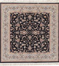 All-Over Black Floral Hereke Turkish Oriental 7x7 Square Area Rug