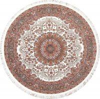 Ivory Floral Hereke Turkish Oriental 7x7 Round Area Rug