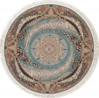 Teal Blue Floral Hereke Turkish Oriental 7x7 Round Area Rug