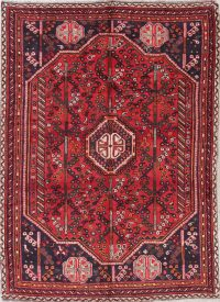 One-of-a-Kind Geometric Shiraz Persian Hand-Knotted 7x9 Wool Area Rug