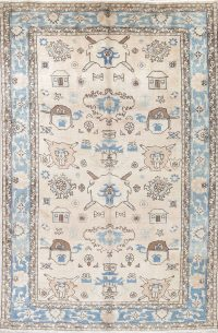 One of a Kind All-Over Heriz Serapi Persian Hand-Knotted 6x10 Wool Area Rug