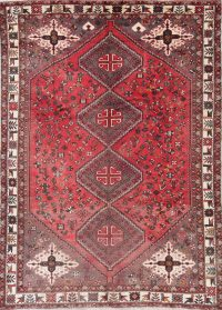 Antique Red Tribal Geometric Shiraz Persian Hand-Knotted 7x10 Wool Area Rug