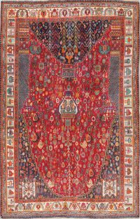 One of a Kind Antique Tribal Kashkoli Persian Hand-Knotted 5x8 Wool Area Rug