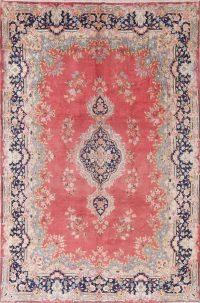 Antique Floral Pink Kerman Persian Hand-Knotted 7x10 Wool Area Rug