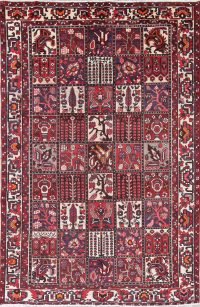 All-Over Geometric Bakhtiari Persian Hand-Knotted 6x10 Wool Area Rug