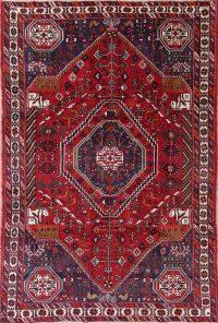 One of a Kind Red Tribal Kashkoli Persian Hand-Knotted 6x9 Wool Area Rug