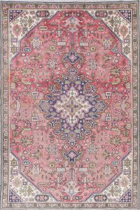One of a Kind Pink Geometric Tabriz Persian Hand-Knotted 6x9 Wool Area Rug