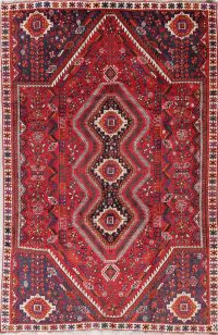 Red Tribal Geometric Kashkoli Persian Hand-Knotted 6x9 Wool Area Rug