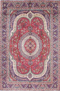One of a Kind Red Geometric Tabriz Persian Hand-Knotted 6x10 Wool Area Rug