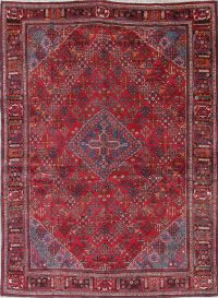 One of a Kind Red Geometric Meymeh Persian Hand-Knotted 7x10 Wool Area Rug