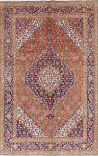 Orange Geometric Ardebil Persian Hand-Knotted 7x10 Wool Area Rug