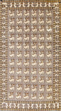 Natural Dye Animal Pictorial Gabbeh Persian Hand-Knotted 7x10 Wool Area Rug
