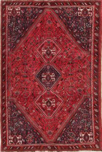 One-of-a-Kind Tribal Red Geometric Lori Persian Hand-Knotted 6x9 Wool Area Rug