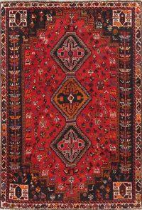 One-of-a-Kind Tribal Geometric Shiraz Persian Hand-Knotted 6x8 Wool Area Rug