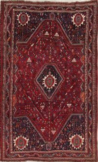 Antique Red Tribal Geometric Qashqai Persian Hand-Knotted 5x8 Wool Area Rug