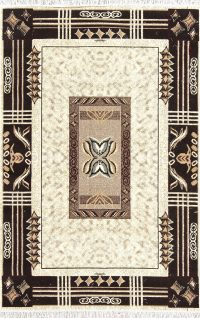 Ivory Geometric Modern Turkish Oriental 5x7 Area Rug