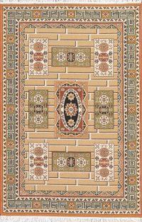 Brown Geometric Kilim Shiraz Turkish Oriental 5x7 Area Rug