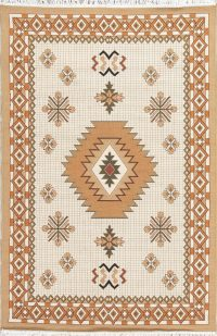 Beige Geometric Kilim Shiraz Turkish Oriental 5x7 Area Rug