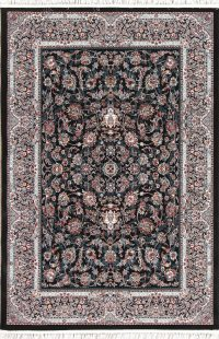 All-Over Floral Black Hereke Turkish Oriental 5x7 Area Rug