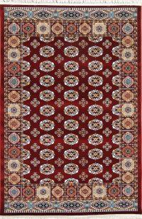 Red Geometric Balouch Turkish Oriental 5x7 Area Rug