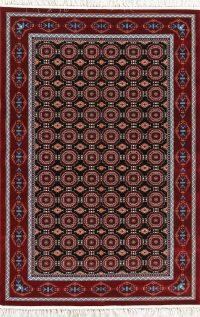All-Over Black Geometric Hereke Turkish Oriental 5x7 Area Rug