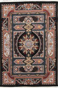 Animal Pictorial Floral Black Hereke Turkish Oriental 5x7 Area Rug
