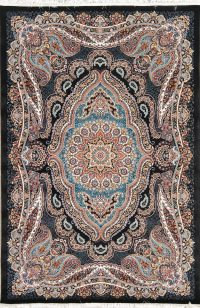 Black Floral Hereke Turkish Oriental 5x7 Area Rug