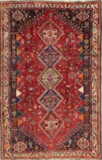 Antique Tribal Red Geometric Abadeh Persian Hand-Knotted 5x8 Wool Area Rug
