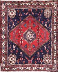 One-of-a-Kind Tribal Geometric Sirjan Persian Hand-Knotted 5x7 Wool Area Rug