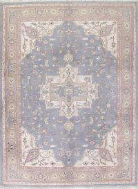 Gray Blue Geometric Heriz Indian Oriental Hand-Knotted 9x12 Wool Area Rug