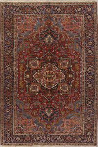 Antique Geometric Heriz Serapi Persian Area Rug Wool 7x10