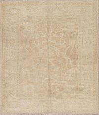 Vegetable Dye Muted Gold Oushak Turkish Hand-Knotted Area Rug 4x5