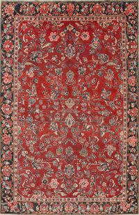 Antique All-Over Floral Red Mahal Persian Hand-Knotted 7x11 Wool Area Rug