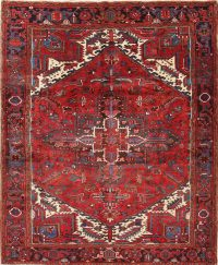 One-of-a-Kind Red Geometric Heriz Persian Hand-Knotted 7x9 Wool Area Rug