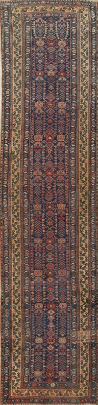 Pre-1900 Vegetable Dye Geometric Bidjar Persian Handmade 4x16 Runner Rug