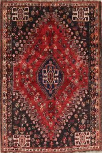 Vintage Tribal Abadeh Persian Hand-Knotted 4x5 Wool Rug