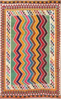 Zig/Zag Design Color-full Kilim Shiraz Persian Hand-Woven 4x7 Wool Area Rug