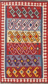 Geometric Kilim Shiraz Persian Hand-Woven 4x7 Wool Area Rug