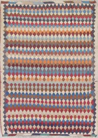 All-Over Geometric Kilim Persian Hand-Woven 6x8 Wool Area Rug