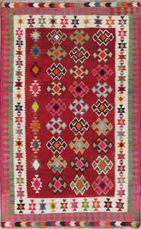 Red Geometric Kilim Qashqai Persian Hand-Woven 5x7 Wool Area Rug