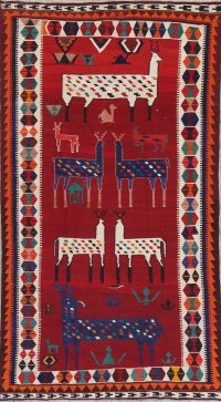 Animal Pictorial Kilim Qashqai Persian Hand-Woven 5x10 Runner Rug