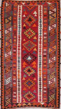 Geometric Kilim Qashqai Persian Hand-Woven 5x9 Wool Area Rug