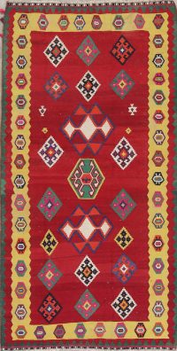 Geometric Kilim Qashqai Persian Hand-Woven 4x9 Wool Runner Rug