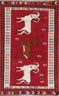 Animal Pictorial Kilim Qashqai Persian Hand-Woven 5x7 Wool Area Rug