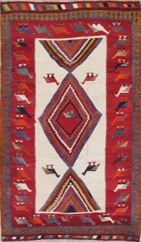 Animal Pictorial Kilim Kashkoli Persian Hand-Woven 6x9 Wool Area Rug