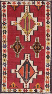 Geometric Kilim Kashkoli Persian Hand-Woven 4x8 Wool Runner Rug