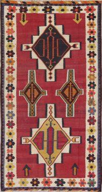 Geometric Kilim Persian Hand-Woven 4x8 Wool Runner Rug