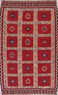 Geometric Red Kilim Qashqai Persian Hand-Woven 6x10 Wool Area Rug